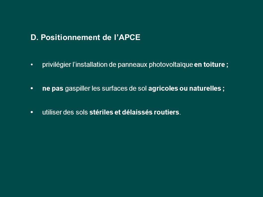 D. Positionnement de l'APCE