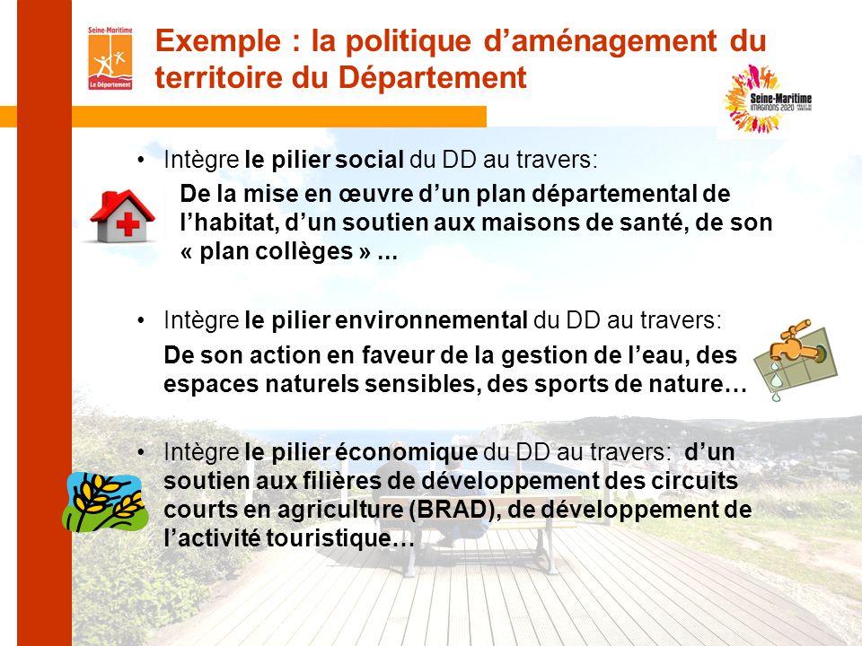 Exemple : la politique d'aménagement du territoire du Département
