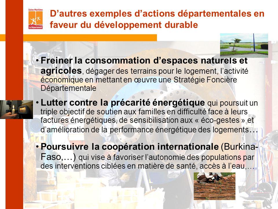 D'autres exemples d'actions départementales en faveur du développement durable
