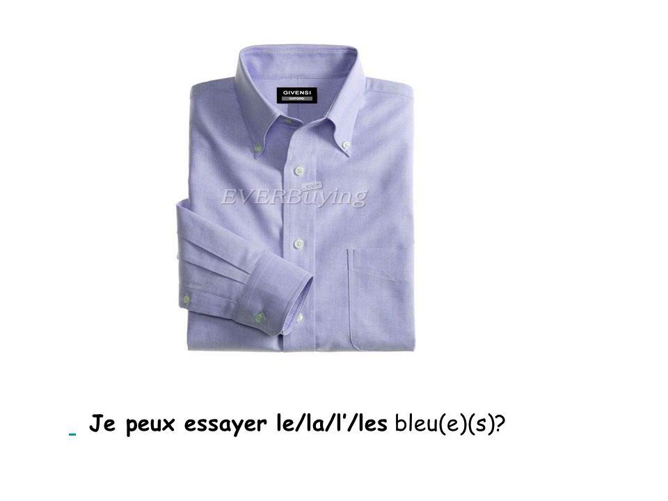 Je peux essayer le/la/l'/les bleu(e)(s)