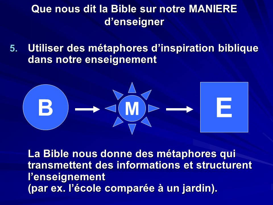 Que nous dit la Bible sur notre MANIERE d'enseigner