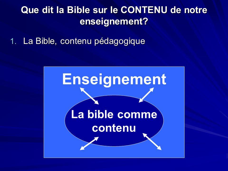 Que dit la Bible sur le CONTENU de notre enseignement