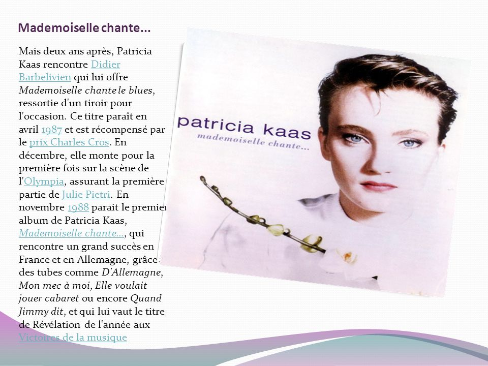 Mademoiselle chante...