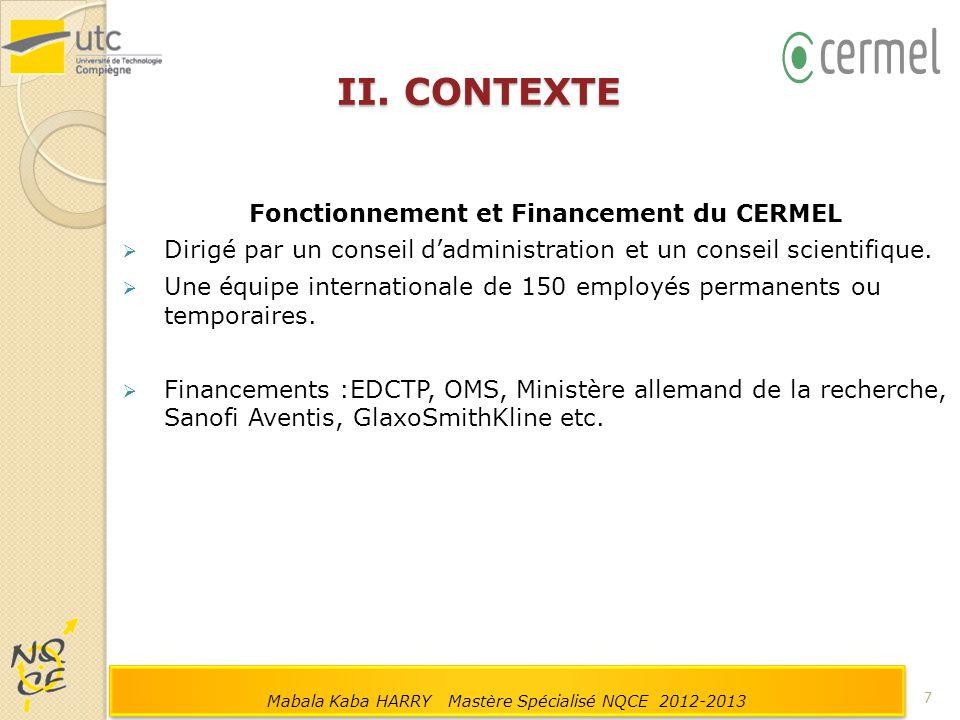 Fonctionnement et Financement du CERMEL