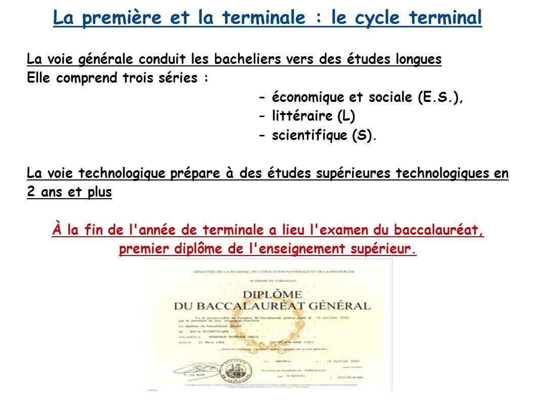 La première et la terminale : le cycle terminal