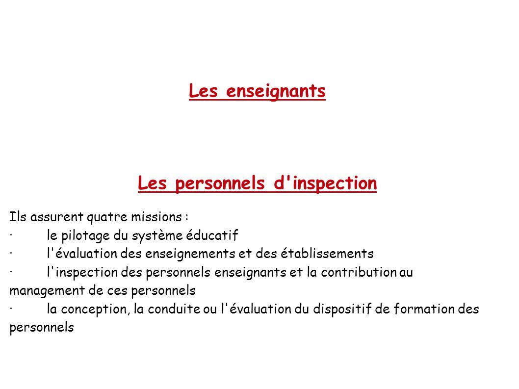 Les enseignants Les personnels d inspection