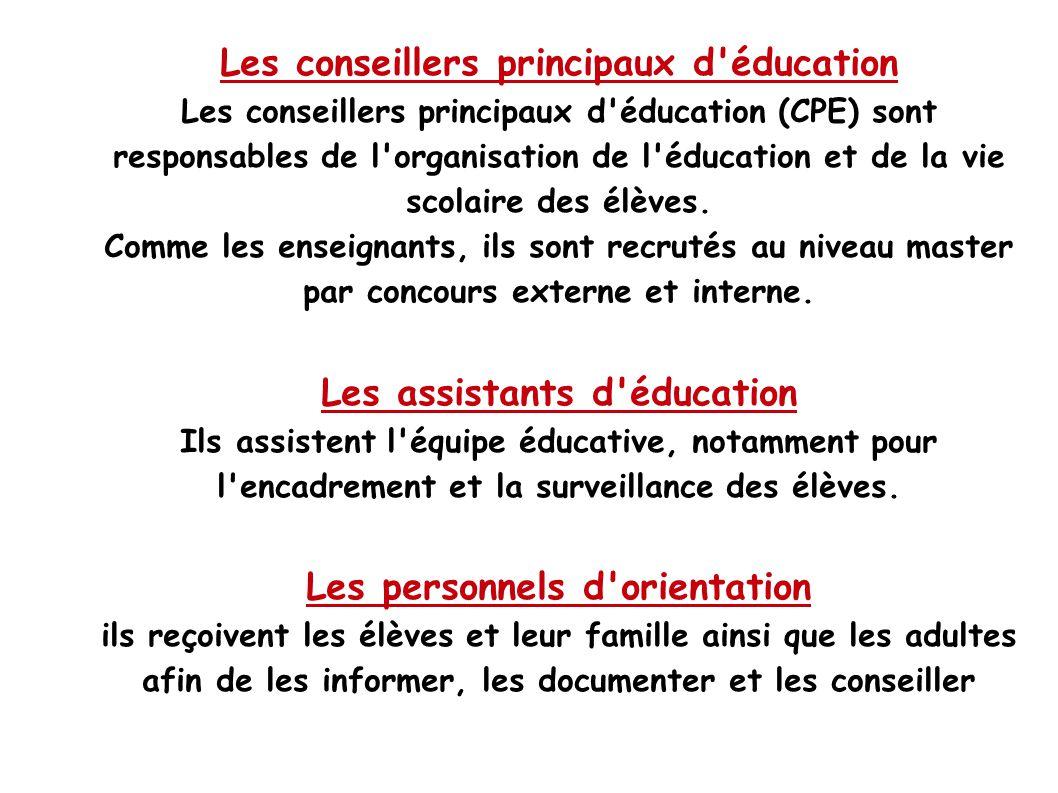 Les conseillers principaux d éducation Les conseillers principaux d éducation (CPE) sont responsables de l organisation de l éducation et de la vie scolaire des élèves.