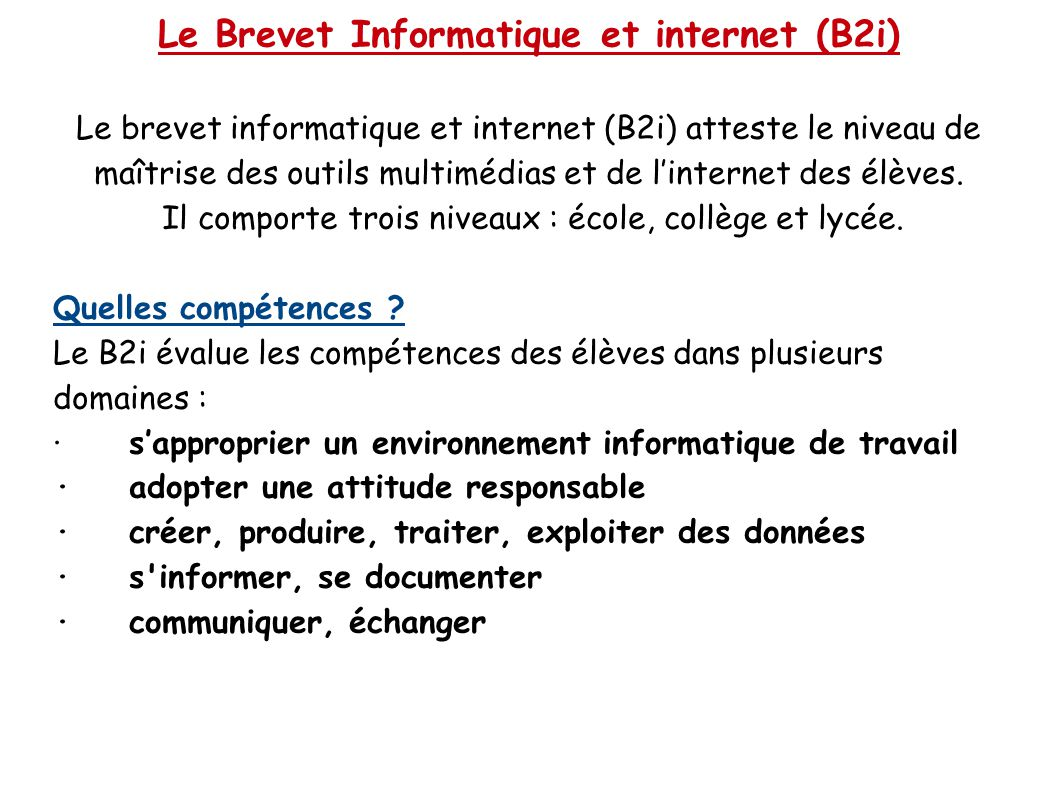 Le Brevet Informatique et internet (B2i)
