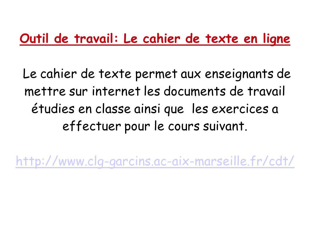 Outil de travail: Le cahier de texte en ligne