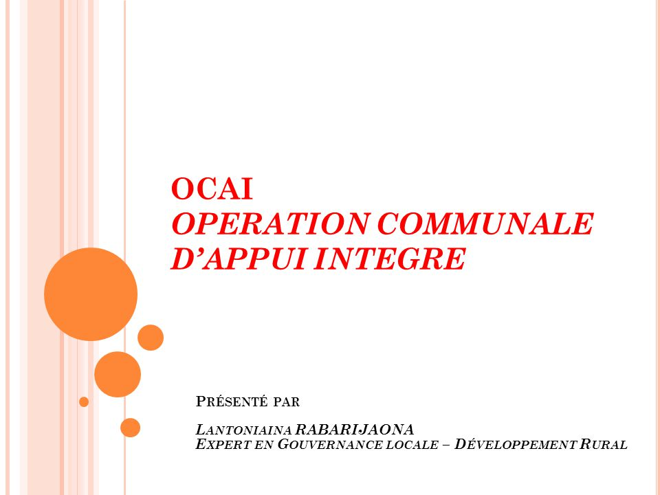 OCAI OPERATION COMMUNALE D'APPUI INTEGRE