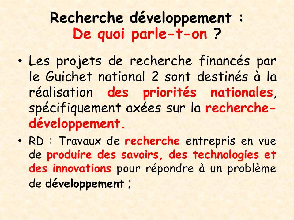 Recherche développement :