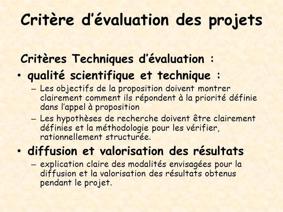 Critère d'évaluation des projets