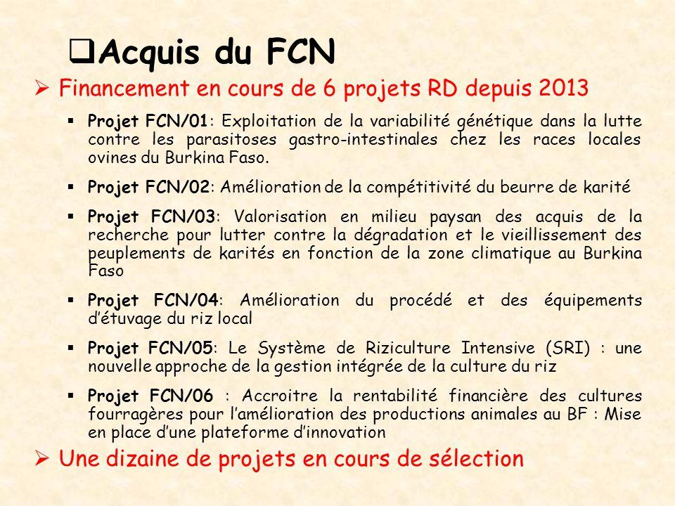 Acquis du FCN Financement en cours de 6 projets RD depuis 2013
