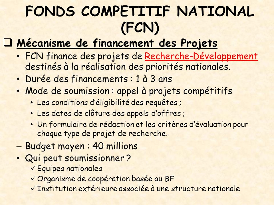 FONDS COMPETITIF NATIONAL (FCN)