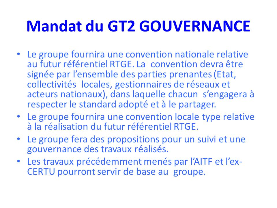 Mandat du GT2 GOUVERNANCE