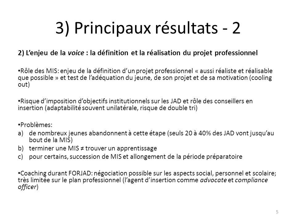 3) Principaux résultats - 2