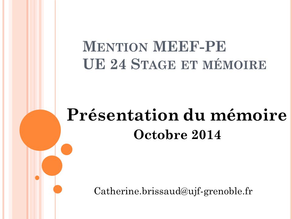 Mention MEEF-PE UE 24 Stage et mémoire