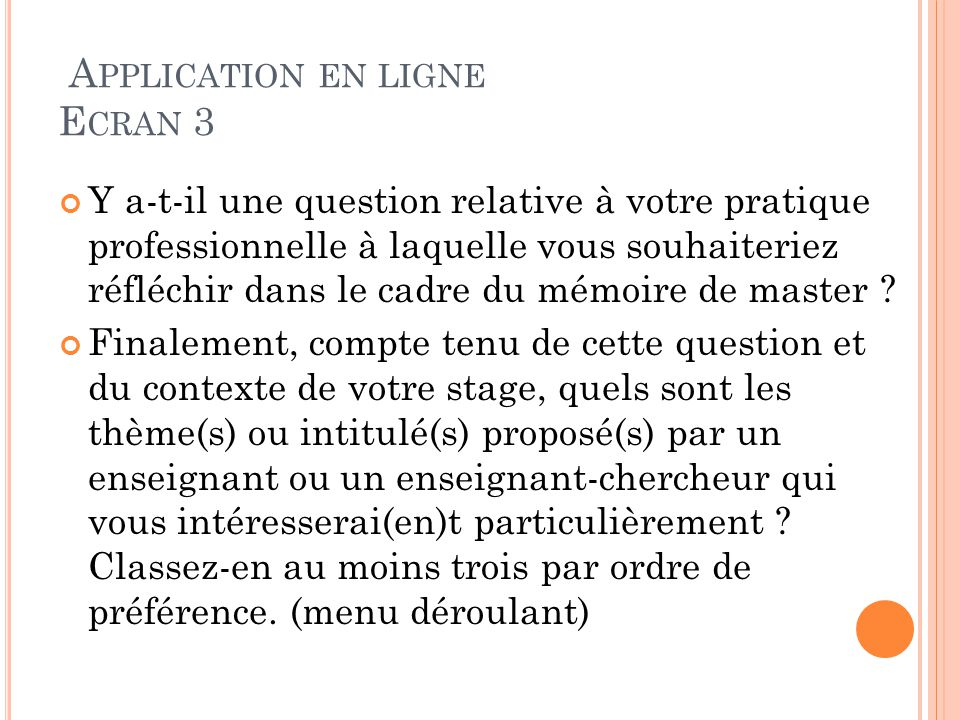 Application en ligne Ecran 3