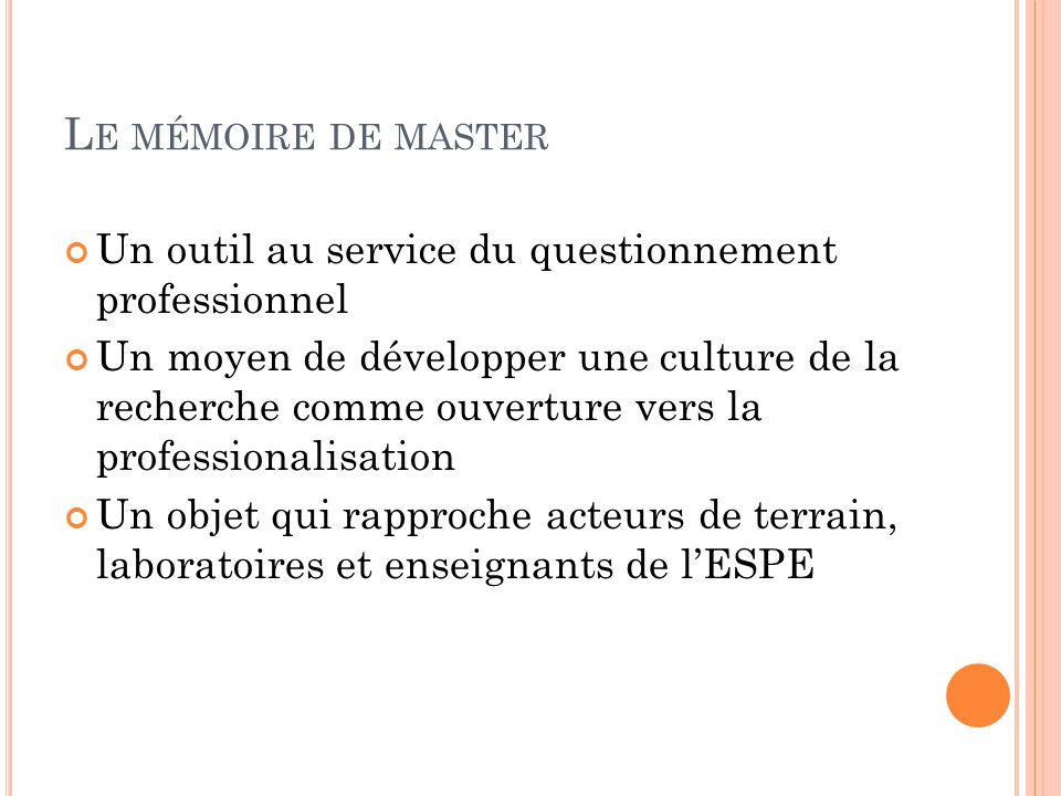 Le mémoire de master Un outil au service du questionnement professionnel.