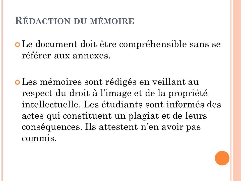 Rédaction du mémoire Le document doit être compréhensible sans se référer aux annexes.