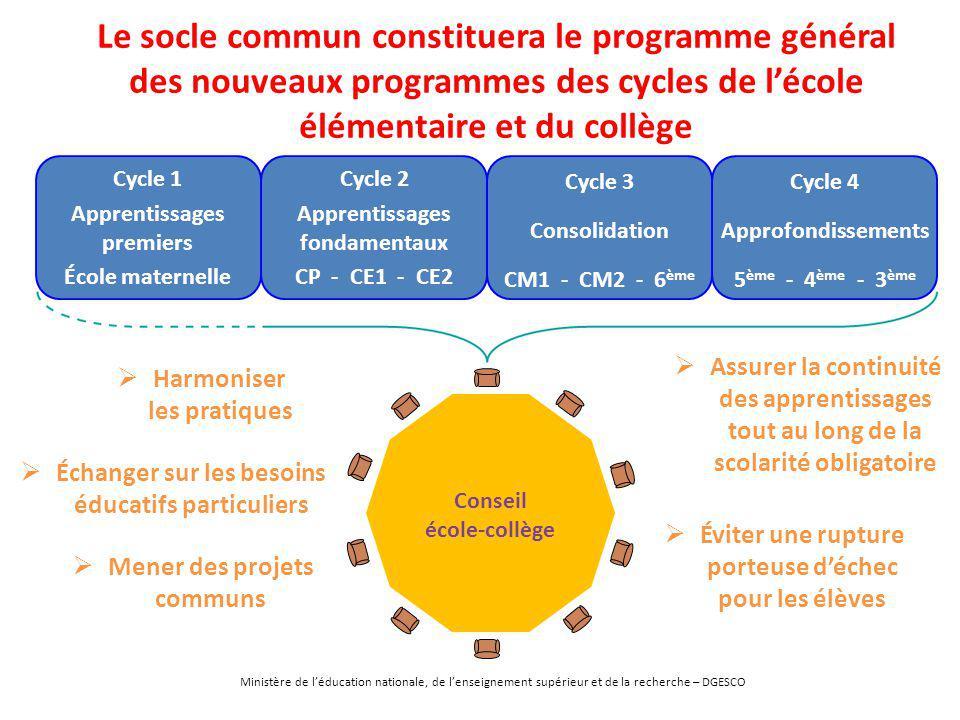 Le socle commun constituera le programme général des nouveaux programmes des cycles de l'école élémentaire et du collège