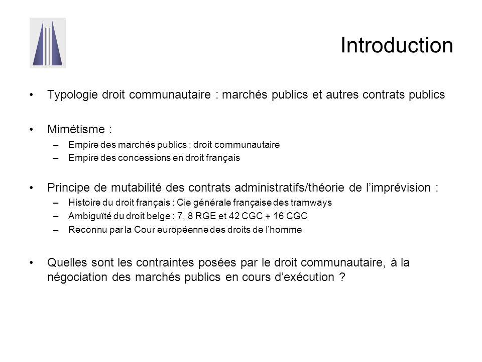 Introduction Typologie droit communautaire : marchés publics et autres contrats publics. Mimétisme :
