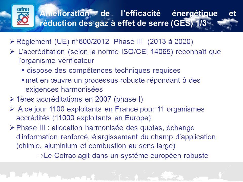 Amélioration de l'efficacité énergétique et réduction des gaz à effet de serre (GES) 1/3