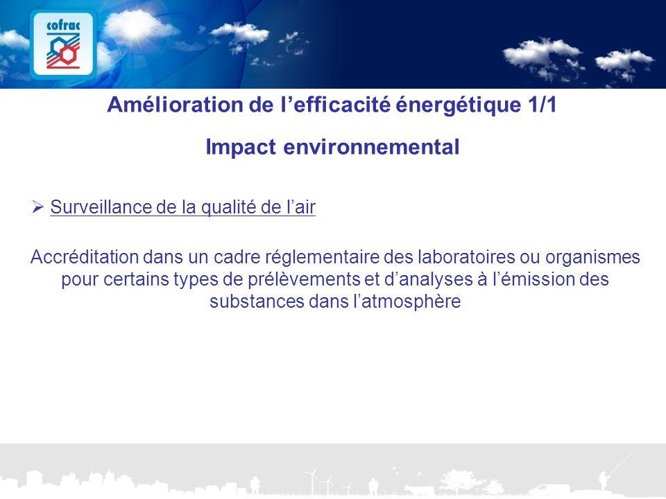 Amélioration de l'efficacité énergétique 1/1 Impact environnemental