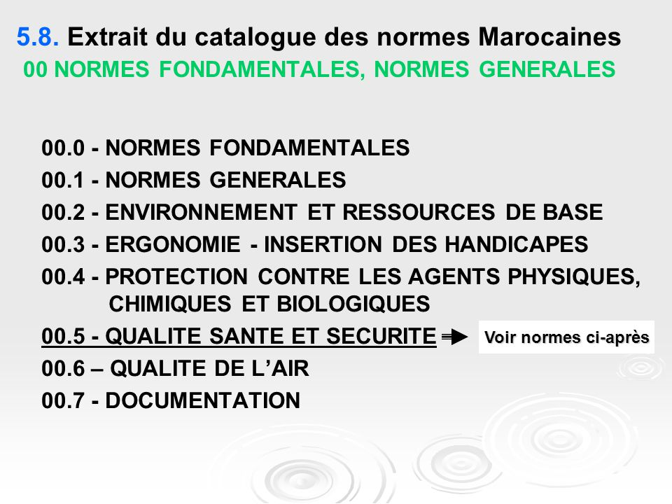 5.8. Extrait du catalogue des normes Marocaines 00 NORMES FONDAMENTALES, NORMES GENERALES