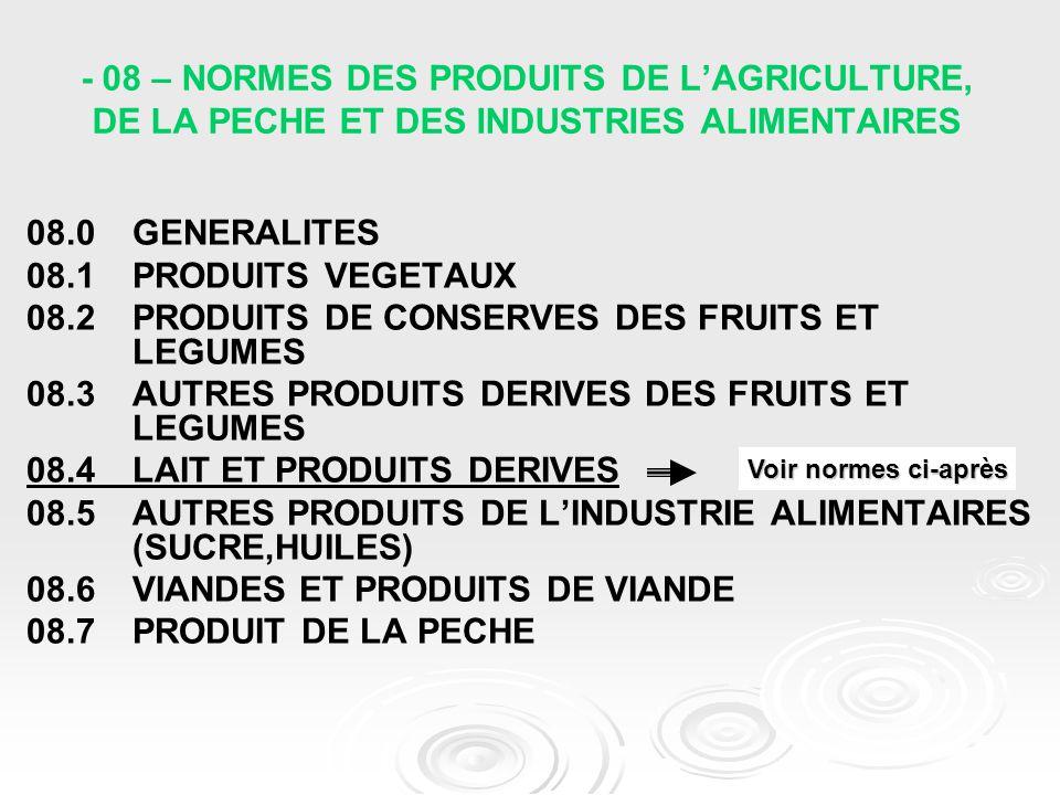08.2 PRODUITS DE CONSERVES DES FRUITS ET LEGUMES