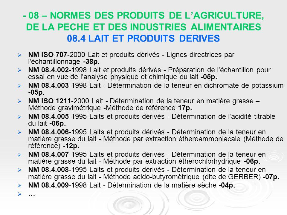 - 08 – NORMES DES PRODUITS DE L'AGRICULTURE, DE LA PECHE ET DES INDUSTRIES ALIMENTAIRES 08.4 LAIT ET PRODUITS DERIVES
