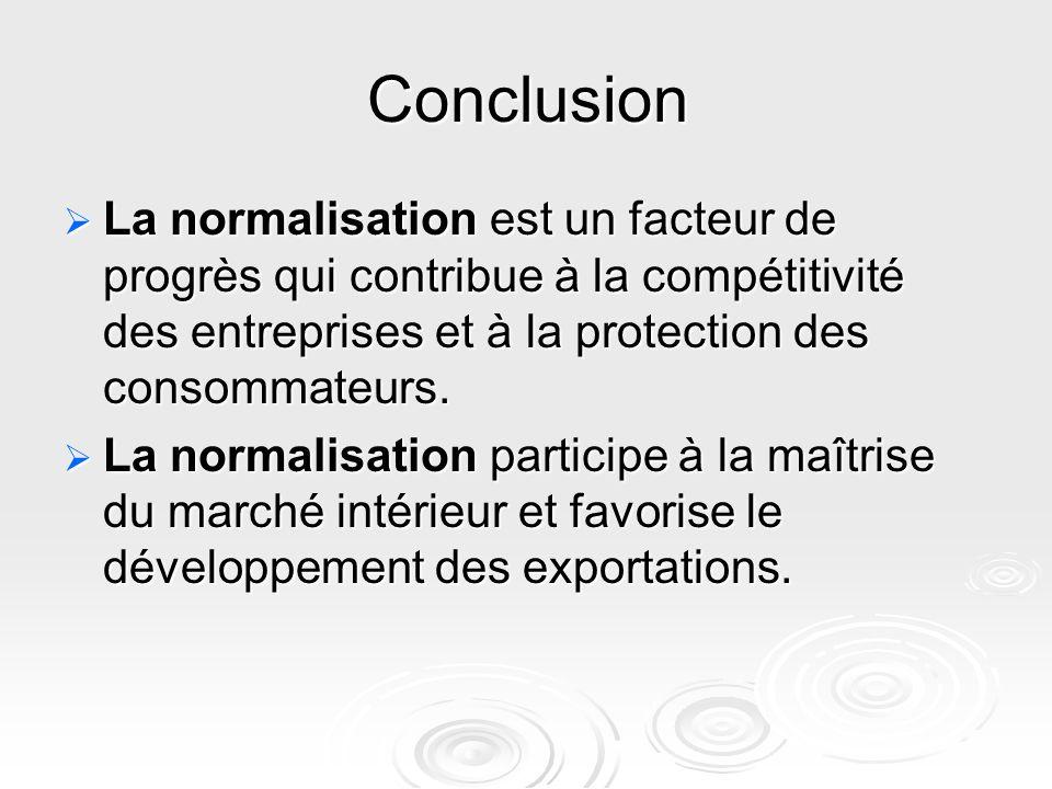 Conclusion La normalisation est un facteur de progrès qui contribue à la compétitivité des entreprises et à la protection des consommateurs.