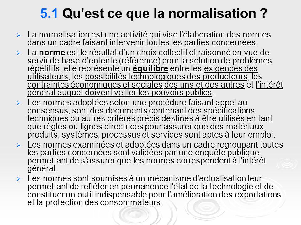 5.1 Qu'est ce que la normalisation