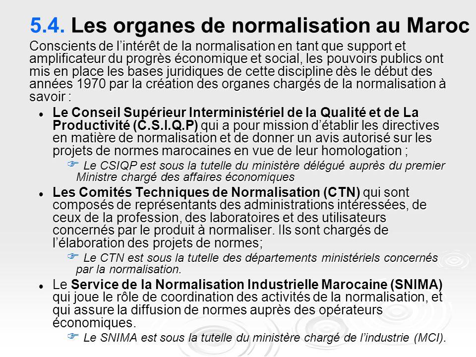 5.4. Les organes de normalisation au Maroc