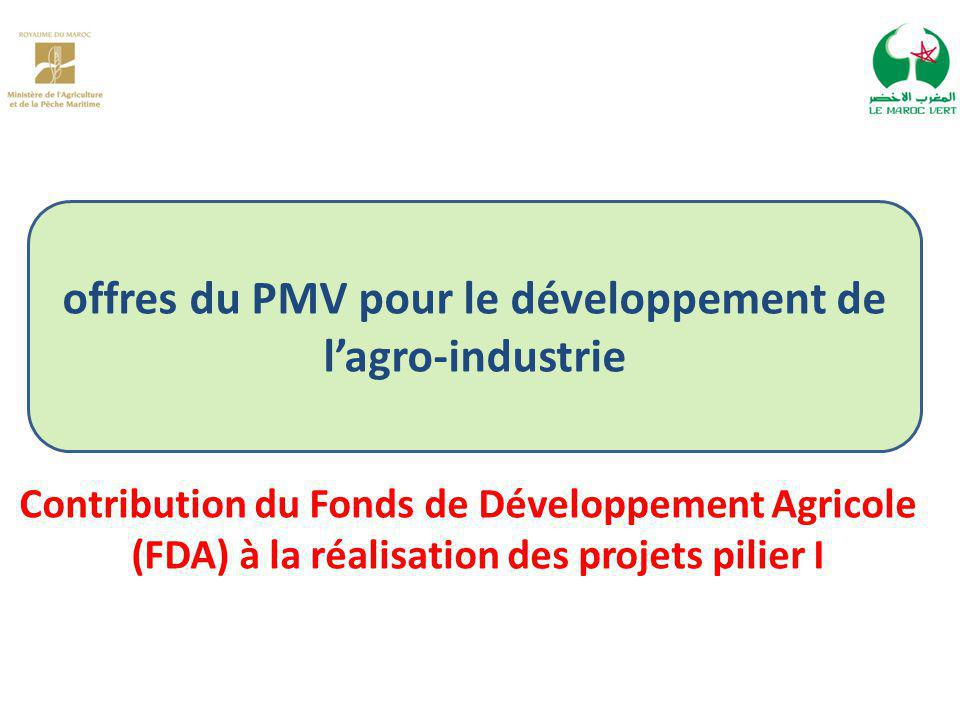 offres du PMV pour le développement de l'agro-industrie