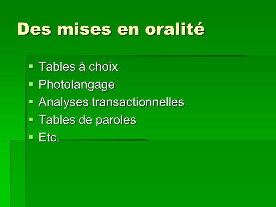 Des mises en oralité Tables à choix Photolangage