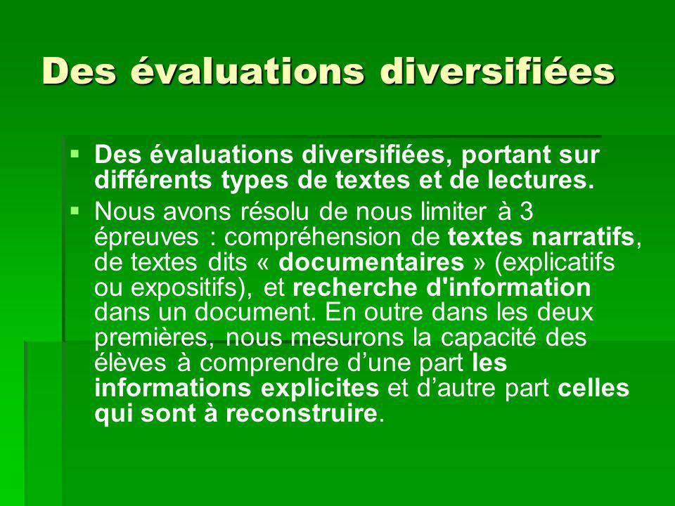 Des évaluations diversifiées