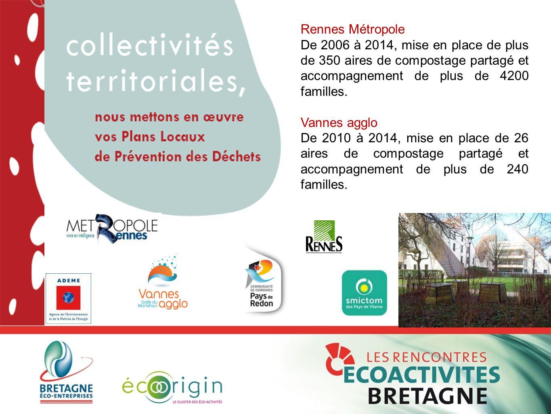 Rennes Métropole De 2006 à 2014, mise en place de plus de 350 aires de compostage partagé et accompagnement de plus de 4200 familles.