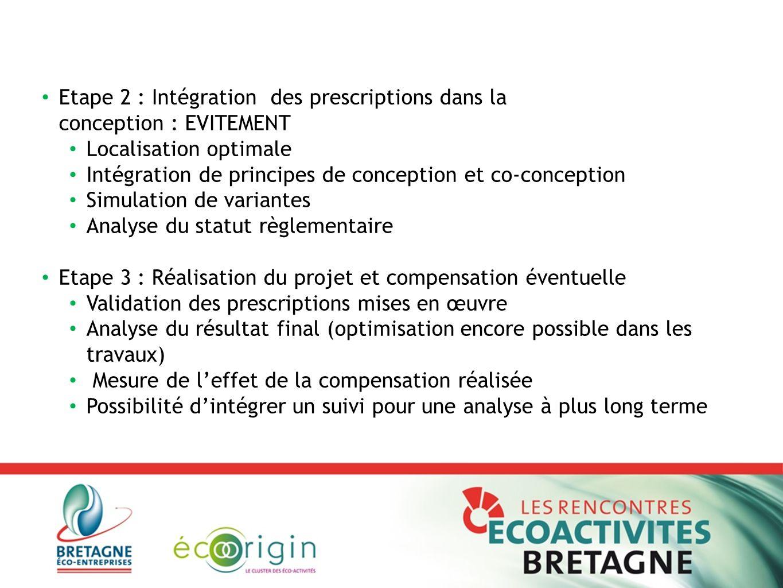Etape 2 : Intégration des prescriptions dans la conception : EVITEMENT