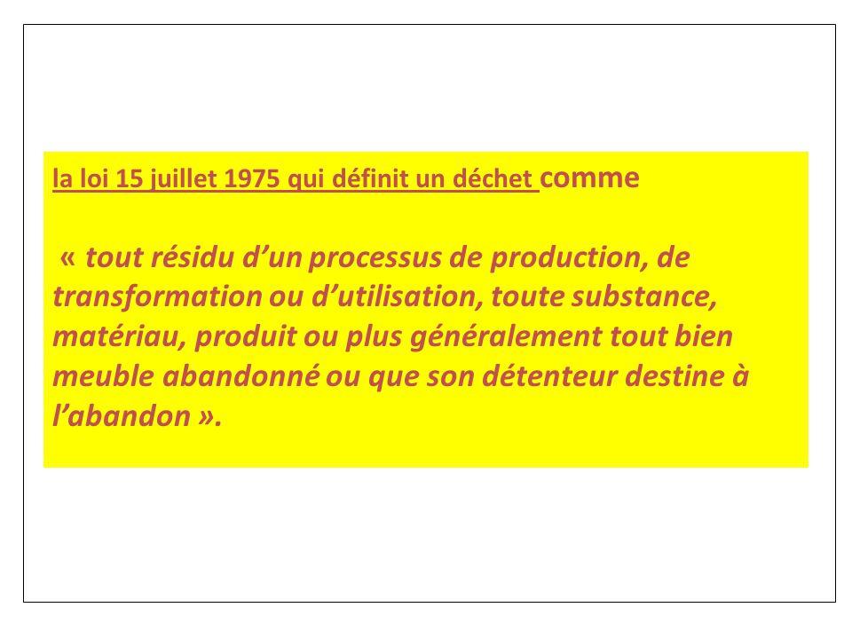 la loi 15 juillet 1975 qui définit un déchet comme