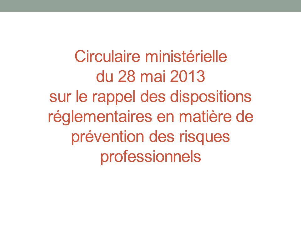 Circulaire ministérielle du 28 mai 2013 sur le rappel des dispositions réglementaires en matière de prévention des risques professionnels