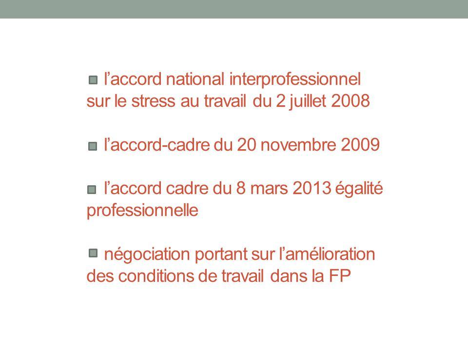 l'accord national interprofessionnel sur le stress au travail du 2 juillet 2008 l'accord-cadre du 20 novembre 2009 l'accord cadre du 8 mars 2013 égalité professionnelle négociation portant sur l'amélioration des conditions de travail dans la FP
