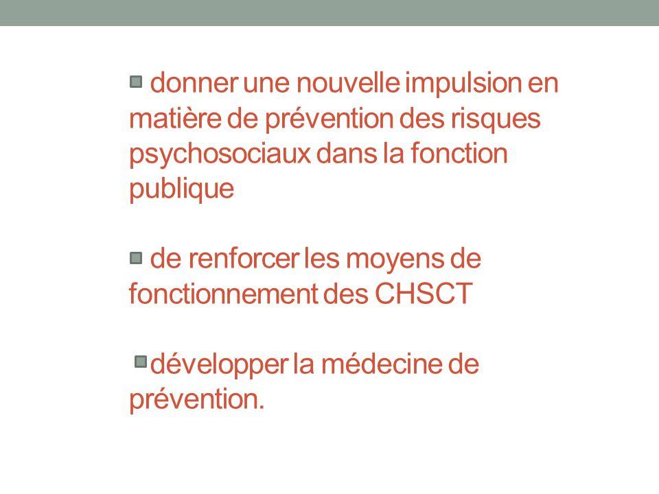donner une nouvelle impulsion en matière de prévention des risques psychosociaux dans la fonction publique de renforcer les moyens de fonctionnement des CHSCT développer la médecine de prévention.