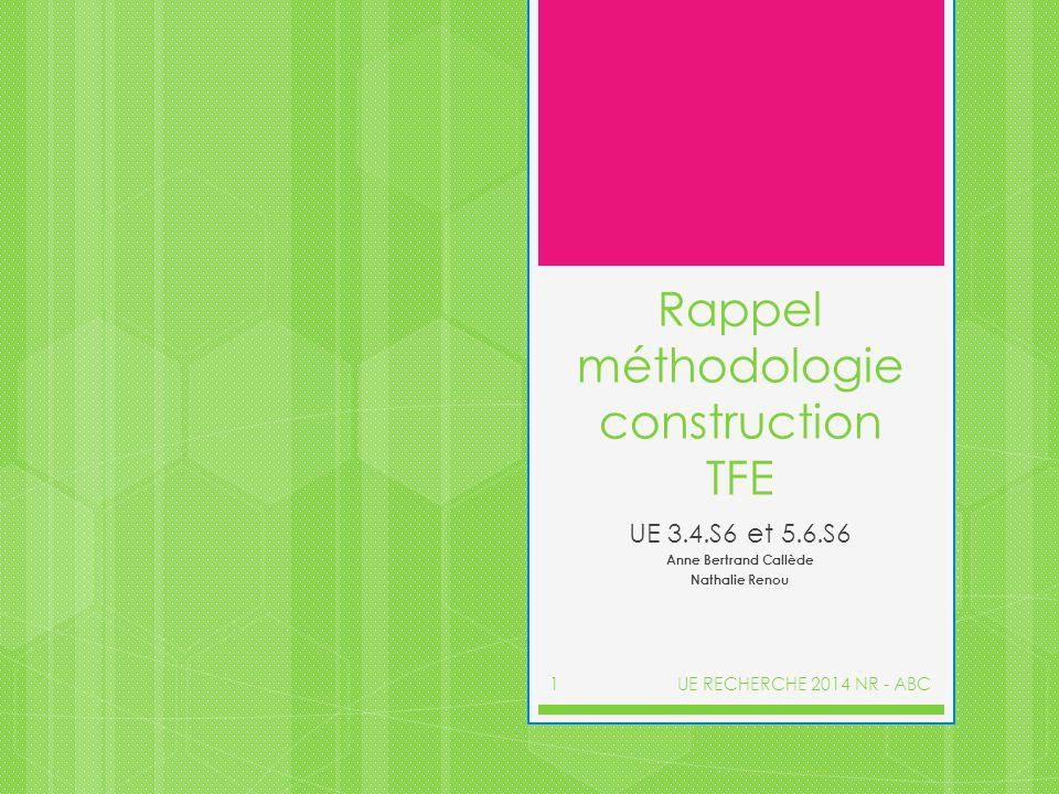 Rappel méthodologie construction TFE