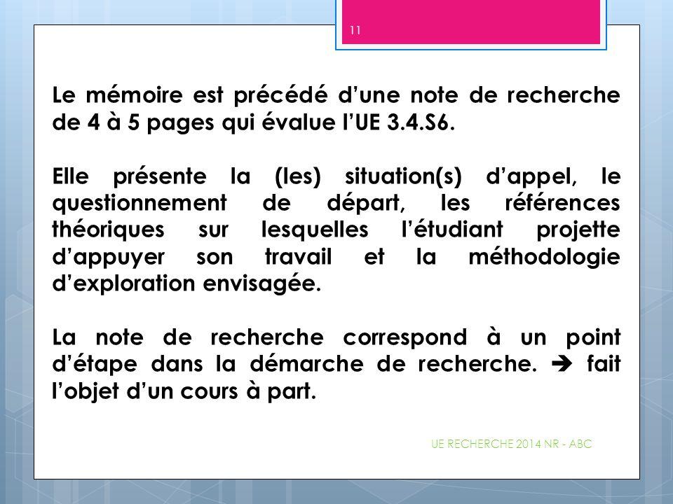 Le mémoire est précédé d'une note de recherche de 4 à 5 pages qui évalue l'UE 3.4.S6.