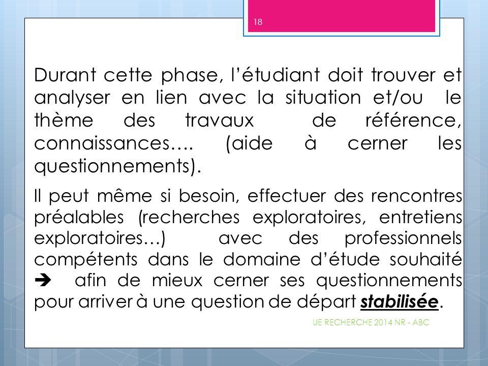 Durant cette phase, l'étudiant doit trouver et analyser en lien avec la situation et/ou le thème des travaux de référence, connaissances…. (aide à cerner les questionnements).