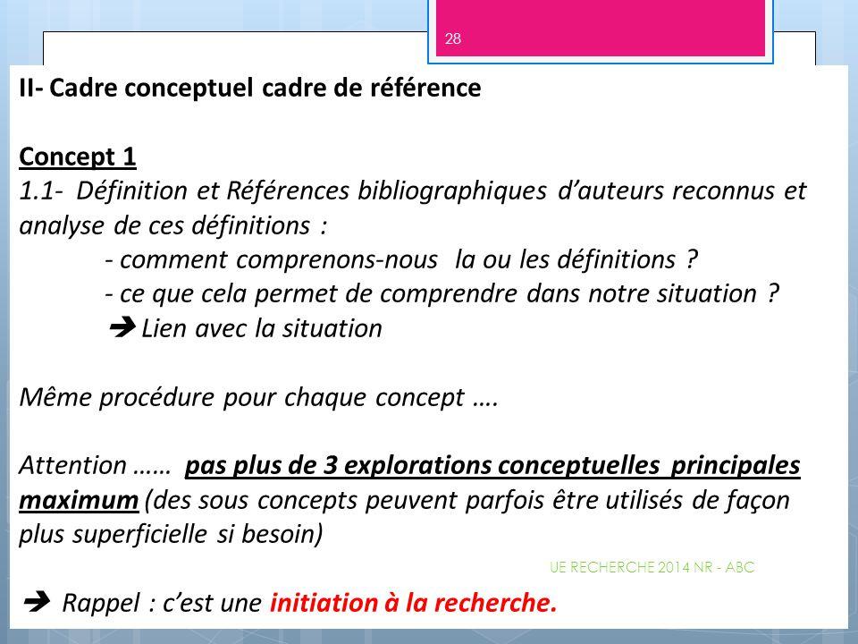 II- Cadre conceptuel cadre de référence