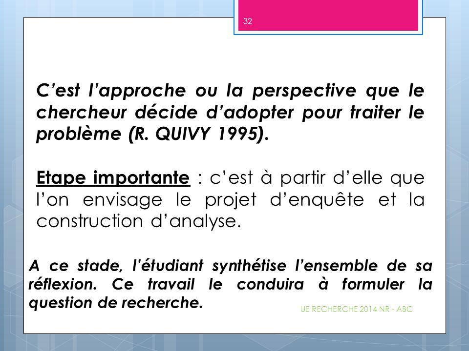 C'est l'approche ou la perspective que le chercheur décide d'adopter pour traiter le problème (R. QUIVY 1995).