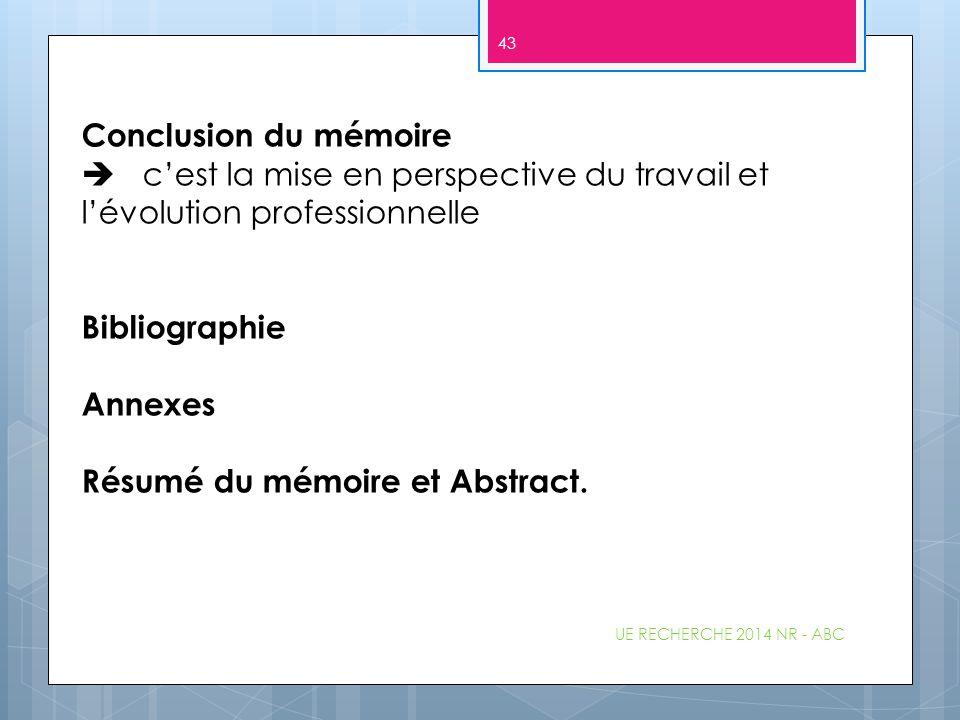 Résumé du mémoire et Abstract.