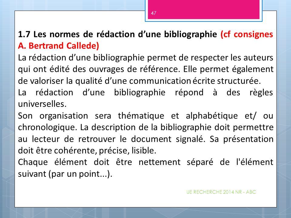 La rédaction d'une bibliographie répond à des règles universelles.